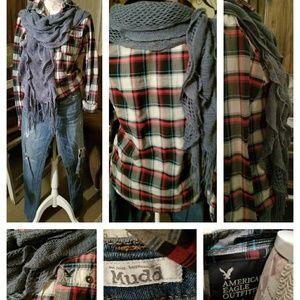 Mudd Jeans/ American Eagle Rugged Shirt/ Scarf
